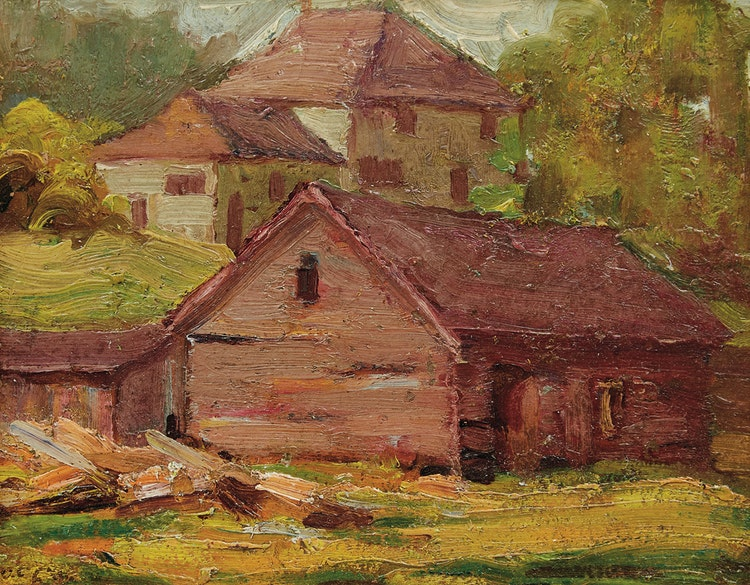 Artwork by John William Beatty,  Rural Houses