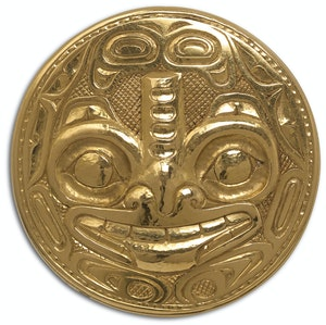 Artwork by Bill Ronald Reid, Haida Medallion Brooch