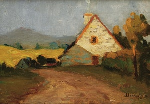 Artwork by John Young Johnstone, Rural Homestead at Sunset