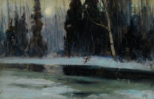 Artwork by Maurice Galbraith Cullen, The Cache River at Moonrise