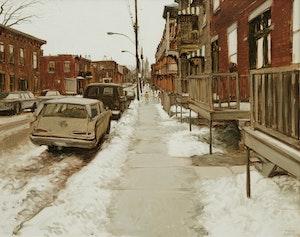 Artwork by John Geoffrey Caruthers Little, Une journée de mars, Rue Hibernia, Pointe St. Charles, Montréal