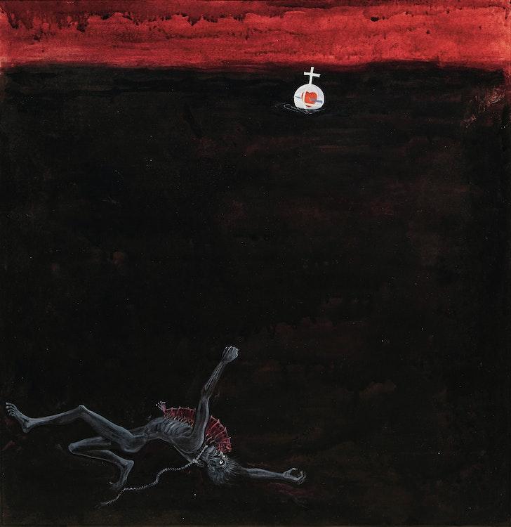 Artwork by William Kurelek,  Judas in Hell