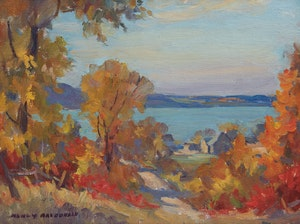 Artwork by Manly Edward MacDonald, Fall Cottage Landscape