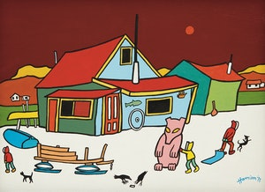 Artwork by Ted Harrison, Curries Corner Cabin, Tagish, Yukon