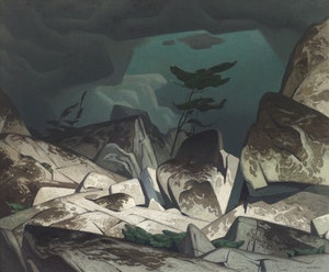 Artwork by Alfred Joseph Casson, Storm in the Cloche Hills