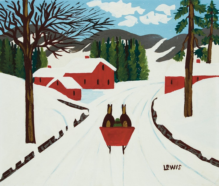 Artwork by Maud Lewis,  Red Sleigh on a Country Road