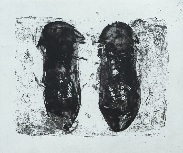 Artwork by Betty Roodish Goodwin,  Parcelled Shoes for the Long Distance Runner