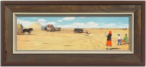 Artwork by William Kurelek, Threshing Outfit Being Brought Lunch