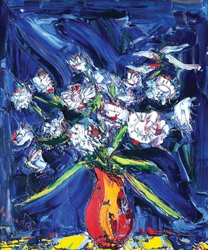 Artwork by Samuel Borenstein, White Flowers and Dark Background