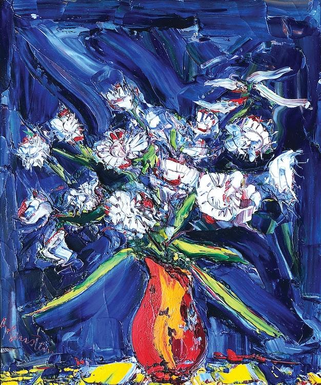 Artwork by Samuel Borenstein,  White Flowers and Dark Background