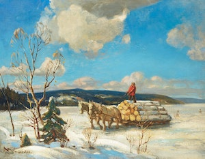 Artwork by Frank Shirley Panabaker, Winter Logging Scene