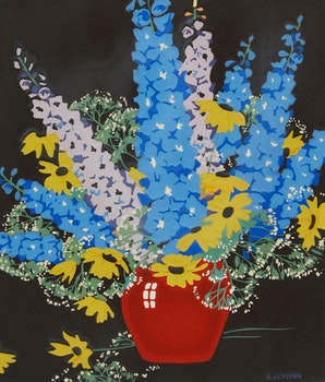 Artwork by Alfred Joseph Casson, Delphiniums and Daisies