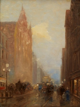 Artwork by Frederic Marlett Bell-Smith, European Street Scene