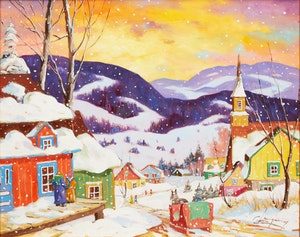 Artwork by Claude Langevin, Winter Landscape