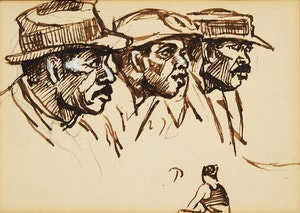 Artwork by Peter Clapham Sheppard, Study of Three Men and a Woman