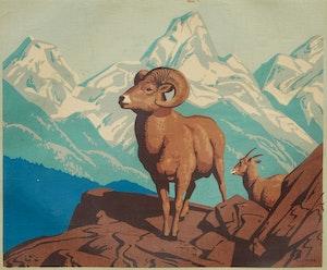 Artwork by Alfred Joseph Casson, Bighorn Sheep