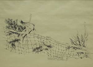 Artwork by Carl Fellman Schaefer, Wire Fence and Pine Branch, Waterloo County