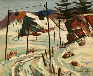 Artwork by Henri Leopold Masson, Winding Roadway in Winter
