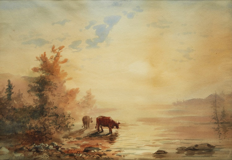 Artwork by Marmaduke Matthews,  Cattle Watering