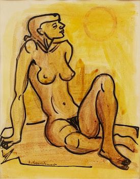 Artwork by Fritz Brandtner, Seated Nude