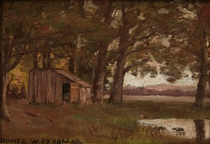 Artwork by Homer Ransford Watson, Sketch of a Cabin