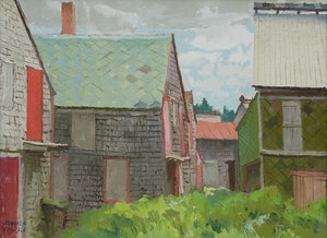 Artwork by George Franklin Arbuckle, Deserted Fish Drying Houses, Seal Cove, Grand Manan, NB