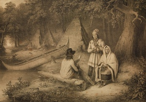 Artwork by Cornelius Krieghoff, Indian Wigwam in Lower Canada
