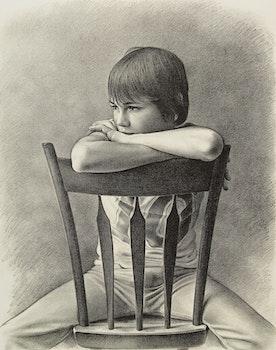 Artwork by Kenneth Danby, Boy on a Chair (Robert)