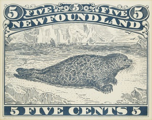 Artwork by Christopher Pratt, Blue Seal (Newfoundland Five Cents)
