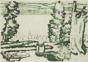 Artwork by David Brown Milne, Painting Place (Hilltop)