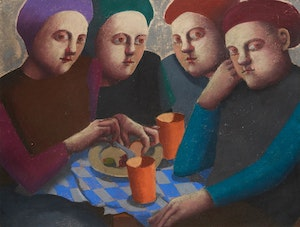 Artwork by Louise Scott, Sharing a Meal
