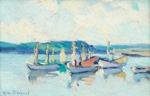 Artwork by Rita Mount, Moored Boats, Port-Daniel