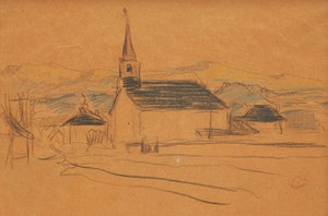 Artwork by Clarence Alphonse Gagnon, Village, St. Lawrence, North Shore