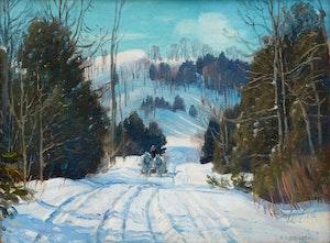 Artwork by Frederick Henry Brigden, Back Road in Winter