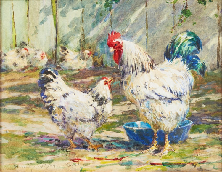 Artwork by Elizabeth Annie McGillivray Knowles,  Rooster and Hen