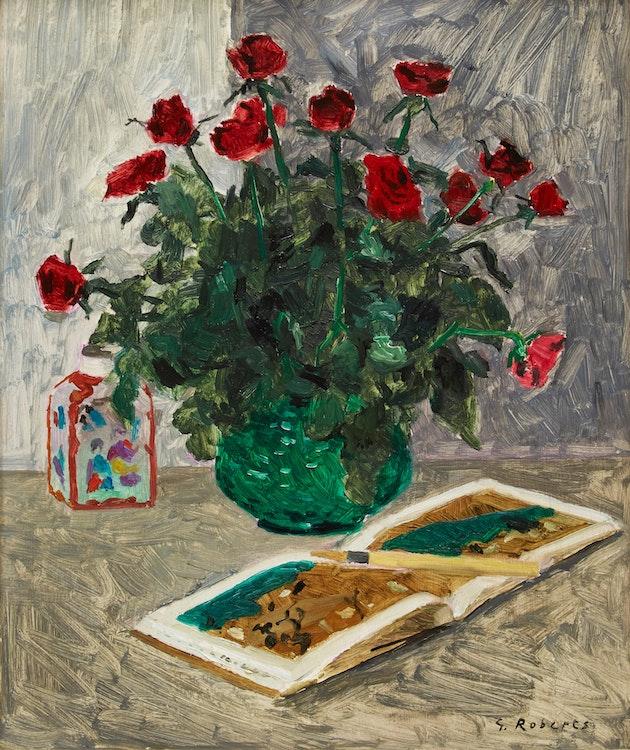 Artwork by William Goodridge Roberts,  Roses in Green Vase
