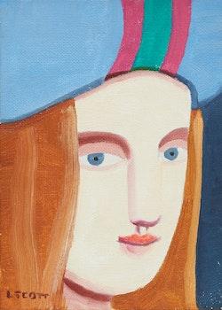 Artwork by Louise Scott, Girl in a Striped Hat