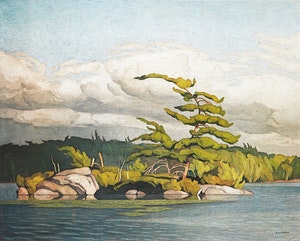 Artwork by Alfred Joseph Casson, Moose Lake; The Village Store; Algonquin Park