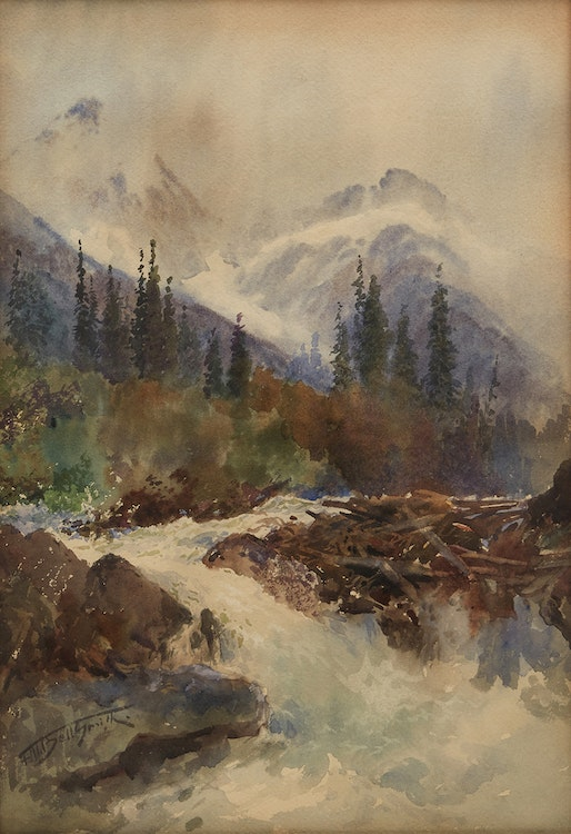 Artwork by Frederic Marlett Bell-Smith,  Mt. Sir Donald and the Illecillewaet River (near Glacier B.C.)