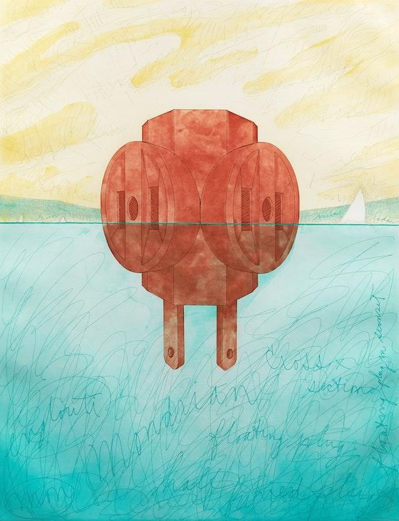 Artwork by Claes Oldenberg,  Floating Three - Way Plug, 1976