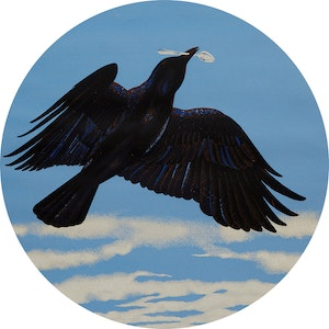 Artwork by David Alexander Colville, Crow with Silver Spoon