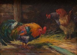 Artwork by Elizabeth Annie McGillivray Knowles, Roosters