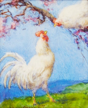 Artwork by Elizabeth Annie McGillivray Knowles, Roosters; Ducks and Geese