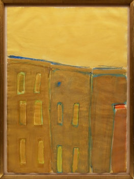 Artwork by James Lechay, Three Buildings, Sky in Naples Yellow
