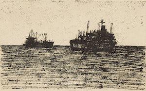 Artwork by Alistair Macready Bell, Ships at Anchor