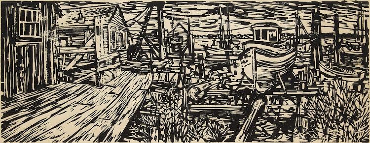 Artwork by Sam Black,  Stevenson on the Fraser