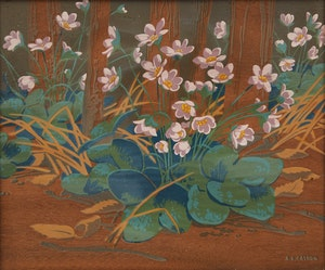 Artwork by Alfred Joseph Casson, Hepatica Flowers