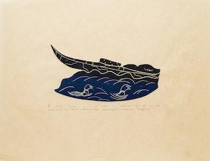 Artwork by Annie  Amamatuak, Eider Ducks Swim Beside a Beached Kayak