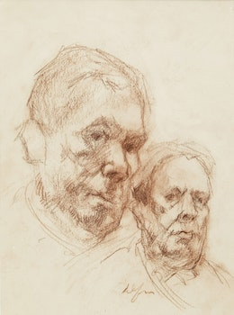 Artwork by John Alfsen, Double Self Portrait Study