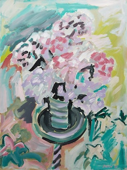 Artwork by Nixie Barton, Hydrangeas on a 40s Ashtray Without the Marbles